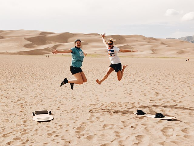 We came, we saw, we conquered, and we died. The dunes are fun! So fun. But we are quite literally dead 🤙 • • #greatsanddunesnationalpark #sanddunes #colorado #coloradosanddunes #beforeandafter #dead #adventure #travel #roadtrip
