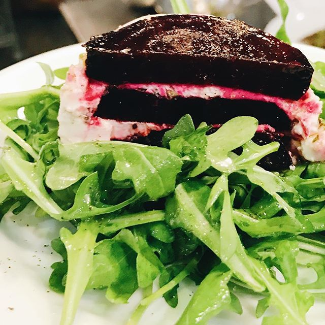 It's a beet cake!! Beets and layered goat cheese on a bed of arugula! Yum --------------------------- #foodie #handmade #greens #goodeats #culinary #chefstatus