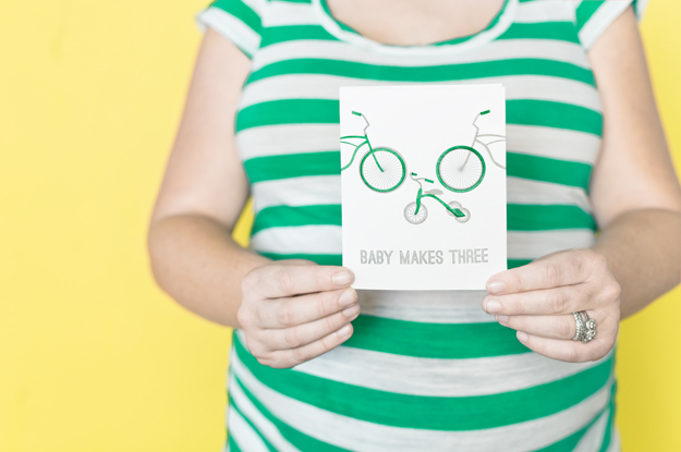 Baby Makes Three letterpress card by Sycamore Street Press