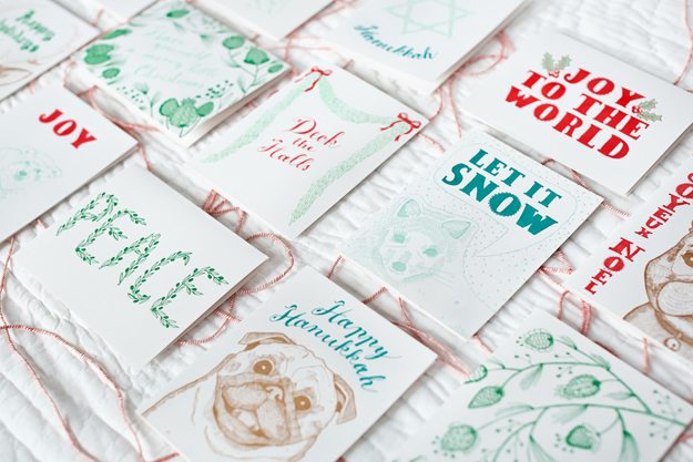 Holiday letterpress cards by Sycamore Street Press