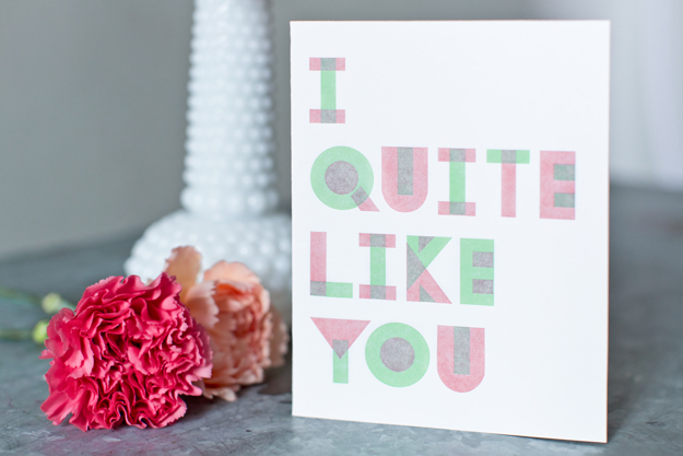 I Quite Like You letterpress card by Sycamore Street Press