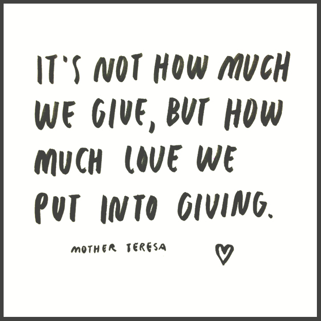 How much LOVE we put into giving... //\\ hand lettering by Sycamore Street Press
