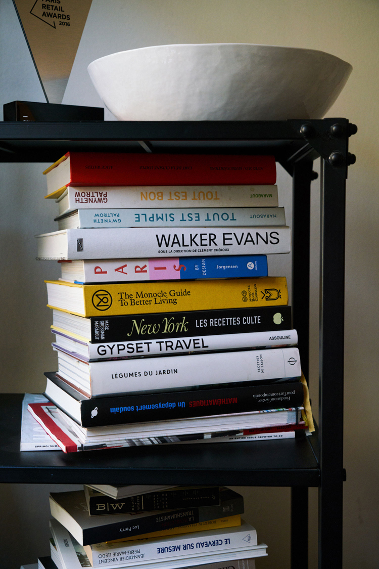 A stack of books at the home of Louise Jourdan-Gassin.