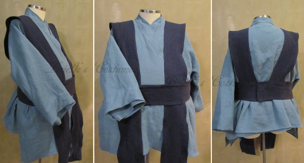 This costume was created for a customer who wanted a blue color scheme Jedi Costume, but he also needed it to be an XXL size with altertaions of accomdate a wheelchair.