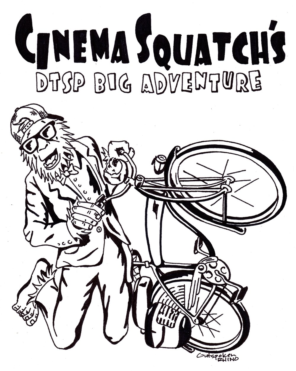 Outspoken Rhino Cinema Squatch T-shirt design Pee Wee