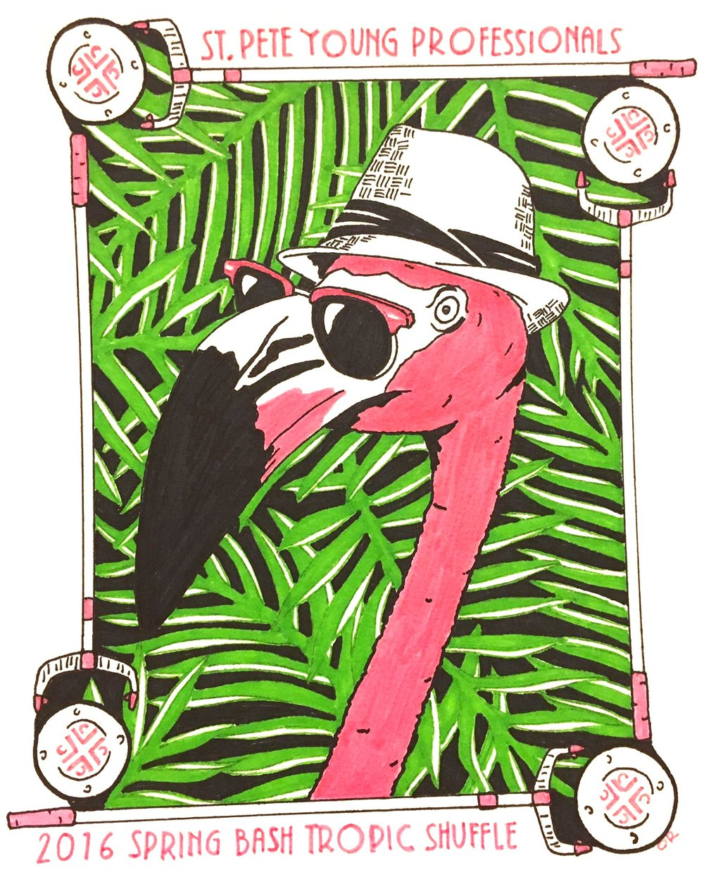 Outspoken Rhino SPYP flamingo T-shirt design
