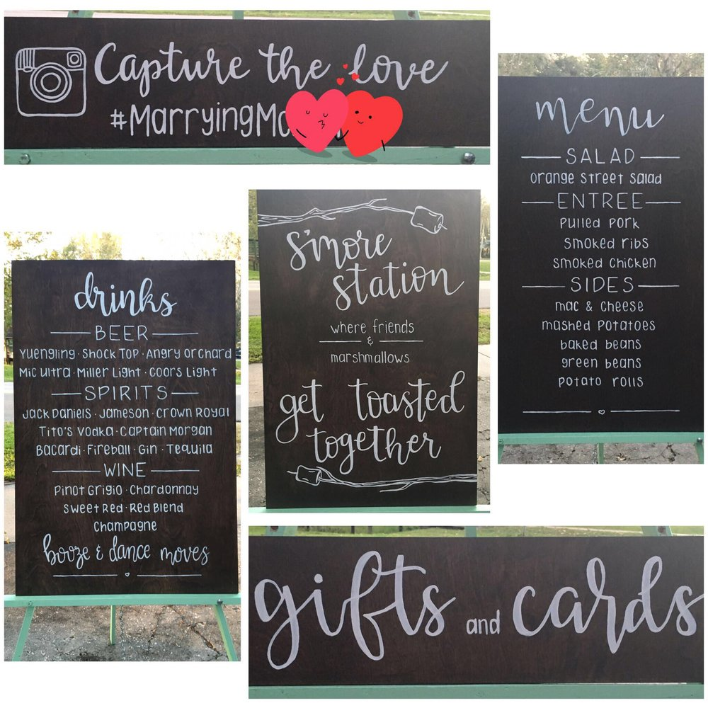 Outspoken Rhino wood wedding signs with head lettering