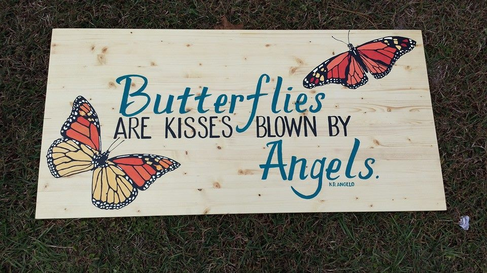 Outspoken Rhino butterfly wood memorial sign hand lettering