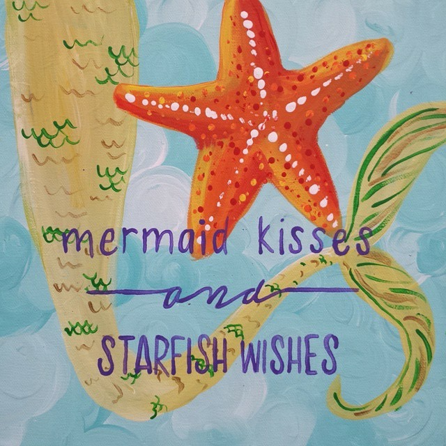 Outspoken Rhino painting parties mermaid kisses and starfish wishes painting