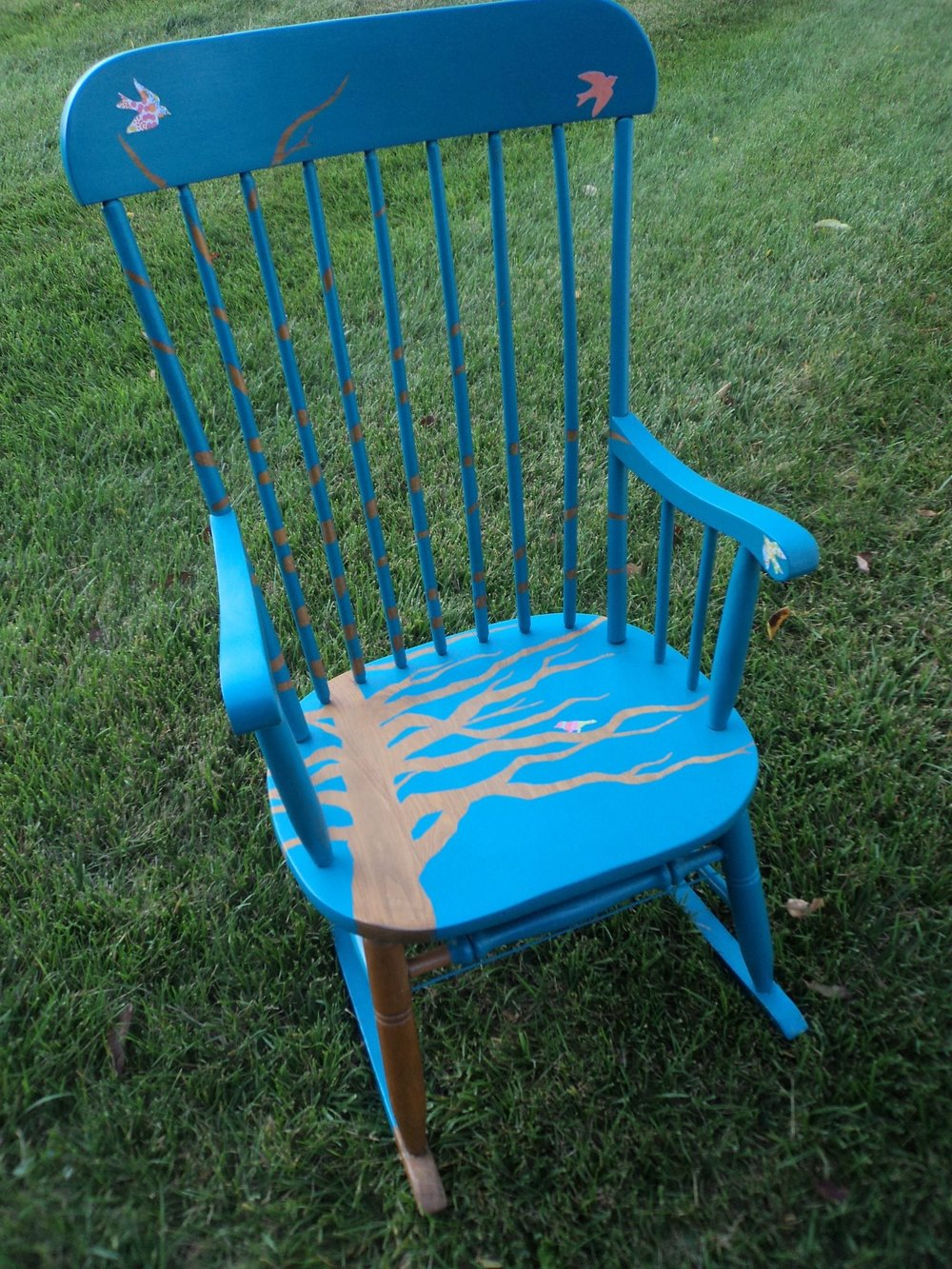 Outspoken Rhino tree painted fundraiser chair