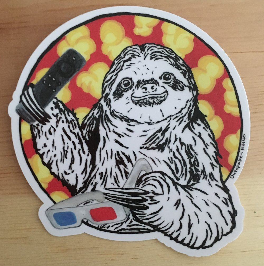 Outspoken rhino sloth sticker popcorn 3d glasses netflix