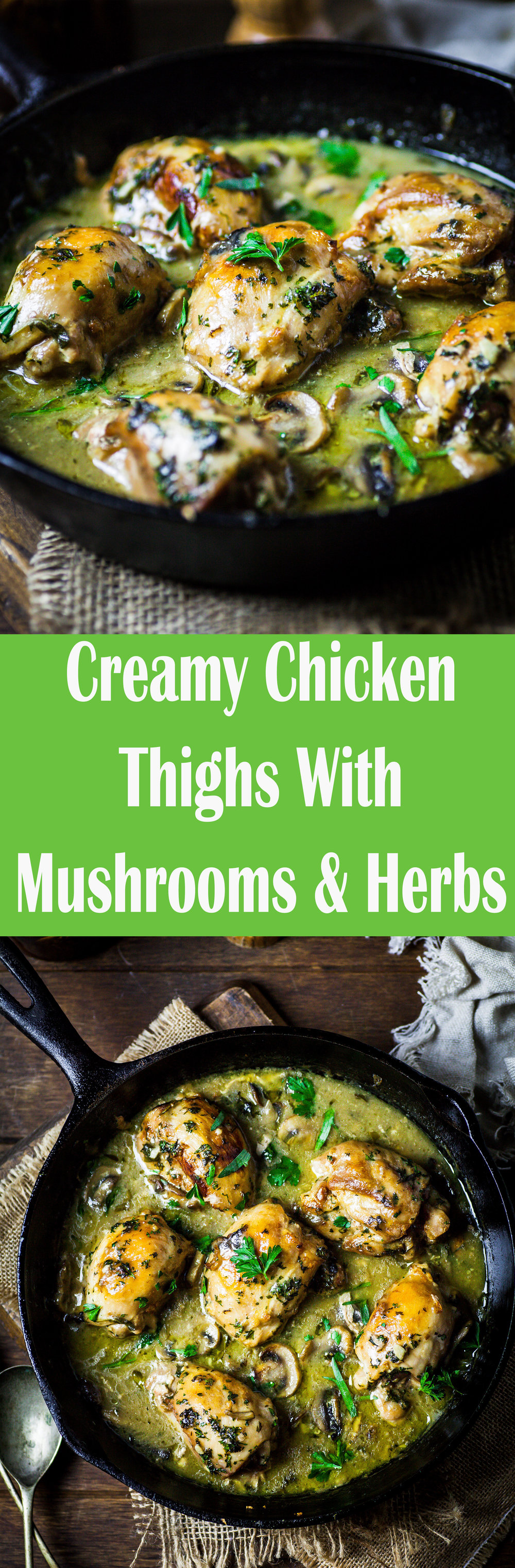 Creamy Chicken Thighs With Mushrooms & Herbs {DF, GF}