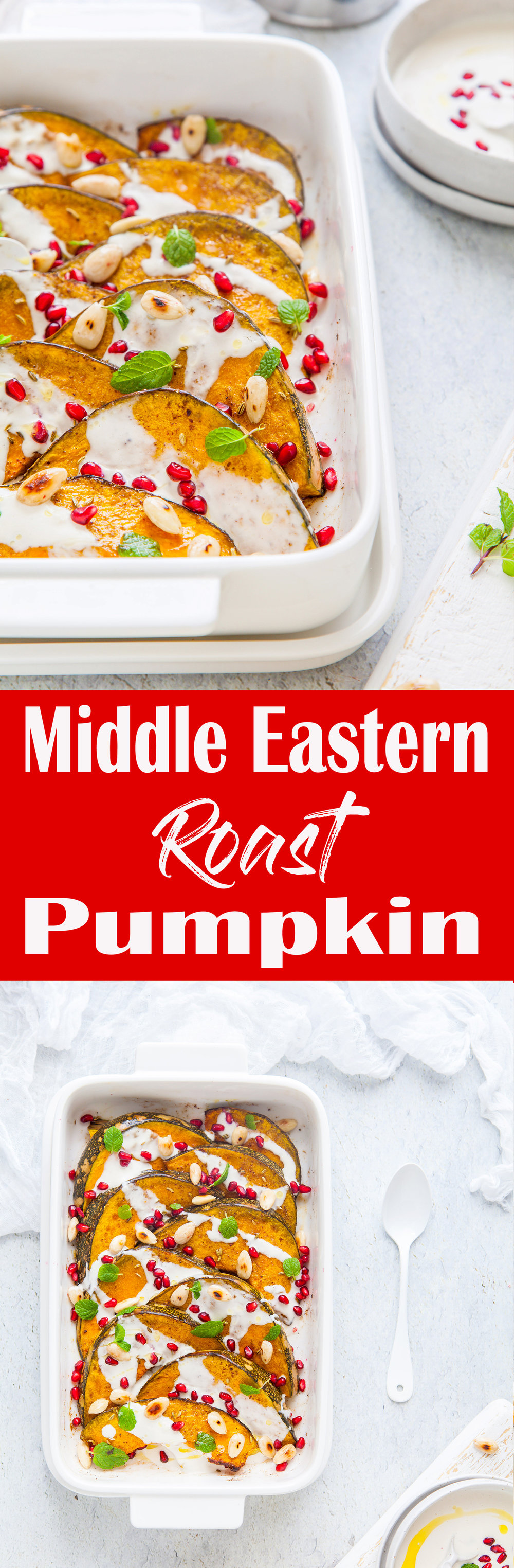 Middle Eastern Roast Pumpkin With Garlic & Yoghurt Tahini Dressing {GF, DF)