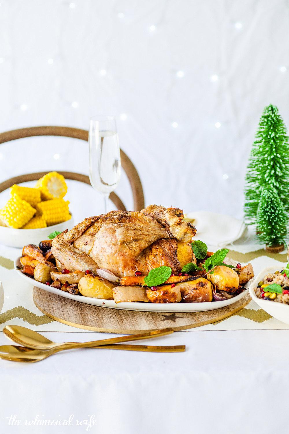 Moroccan Roast Chicken With Quinoa, Pistachio & Currant Stuffing {GF, DF}