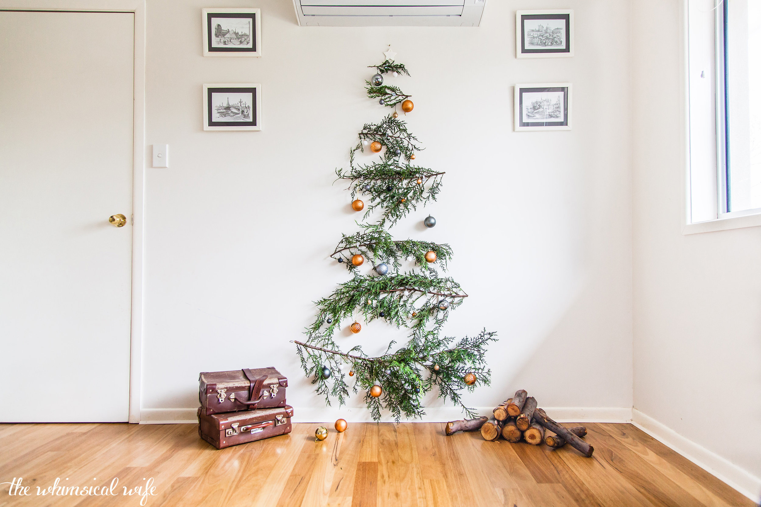 Quick Easy Diy Pine Branch Christmas Tree The Whimsical Wife Cook Create Decorate