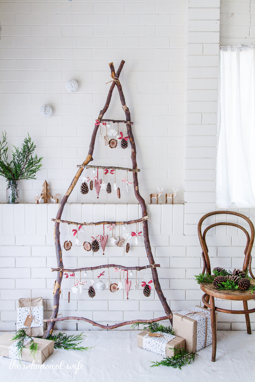 rustic scandinavian ladder christmas tree - Christmas Tree Ladder Decoration
