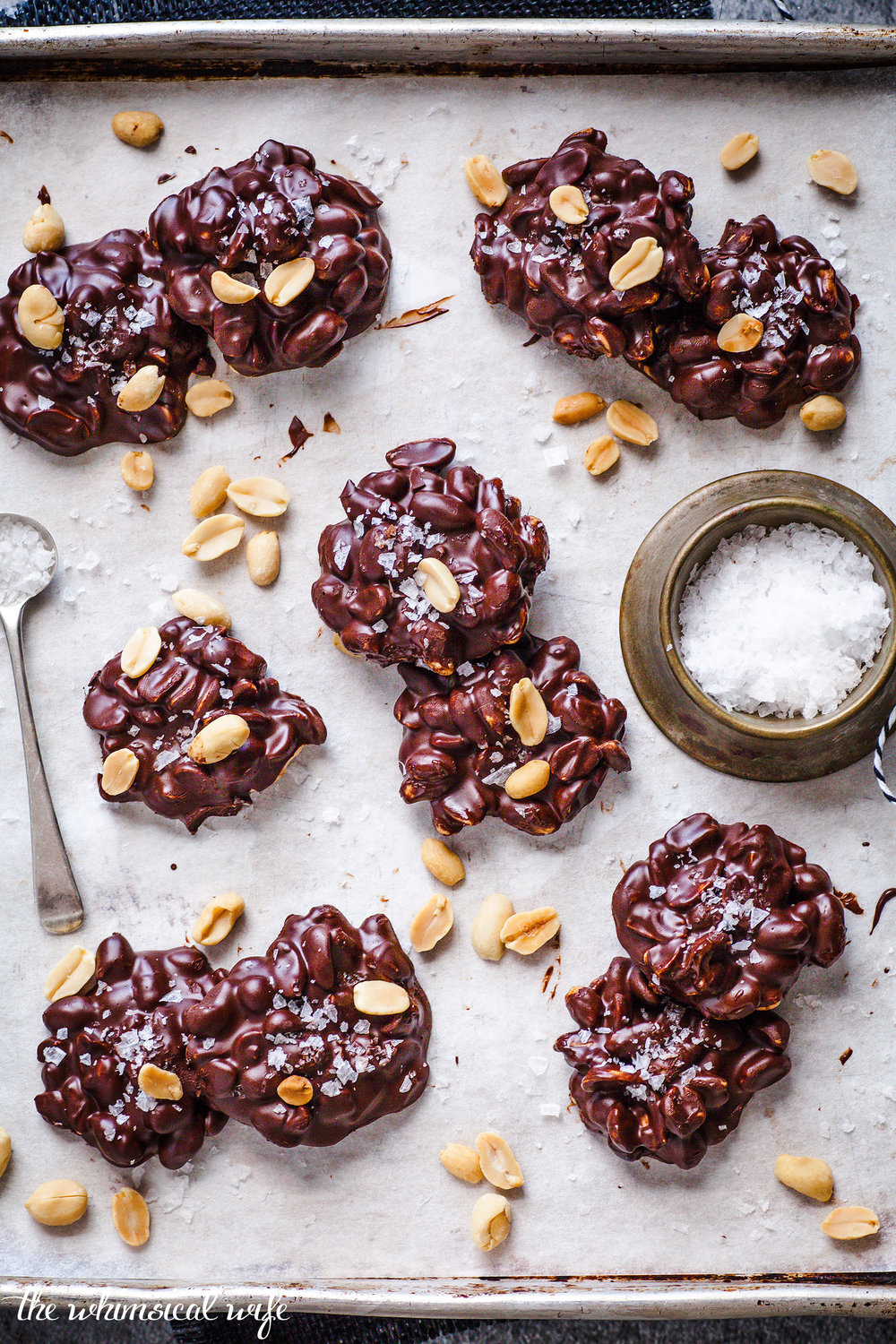 3 Ingredient Salted Choc Peanut Clusters {GF, DF, Vegan}