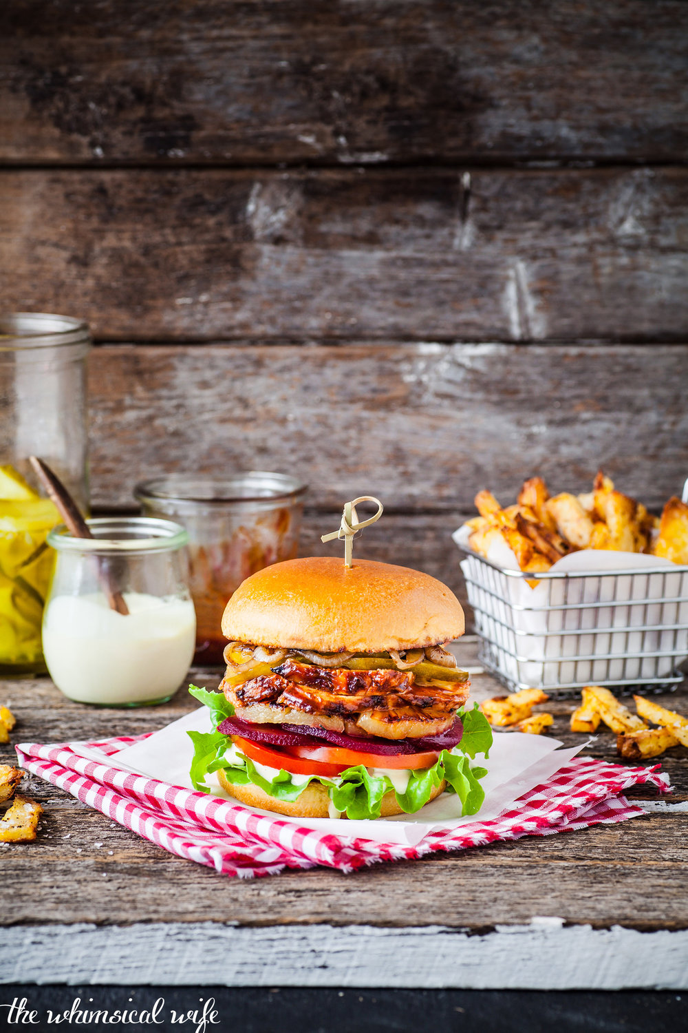Sticky BBQ Chicken Burger With Steakhouse Fries