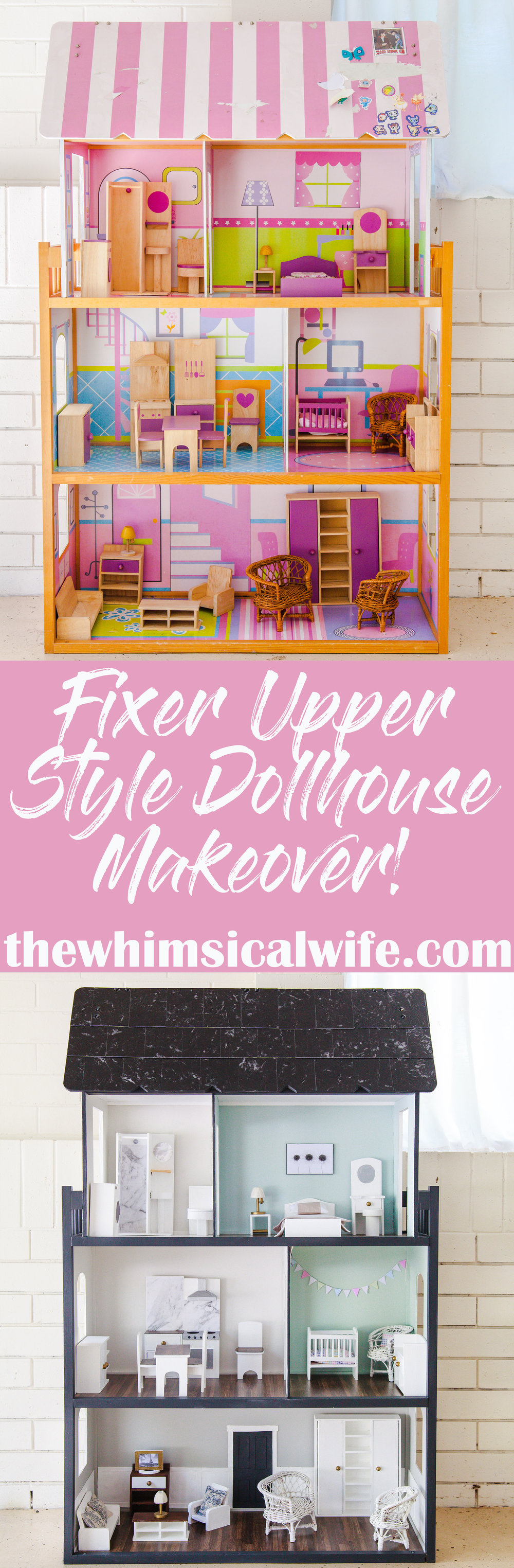 My Fixer Upper Style Dollhouse Makeover + Video | The Whimsical Wife