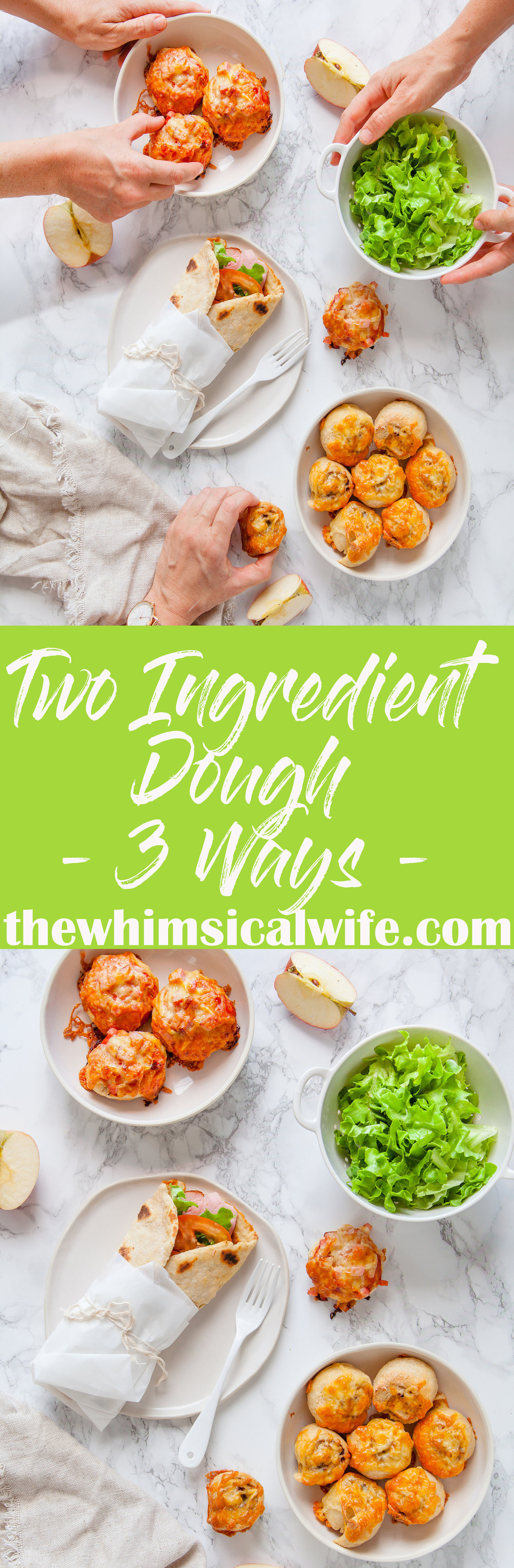 In My Kitchen - Two Ingredient Dough - 3 Ways + Video | The Whimsical Wife
