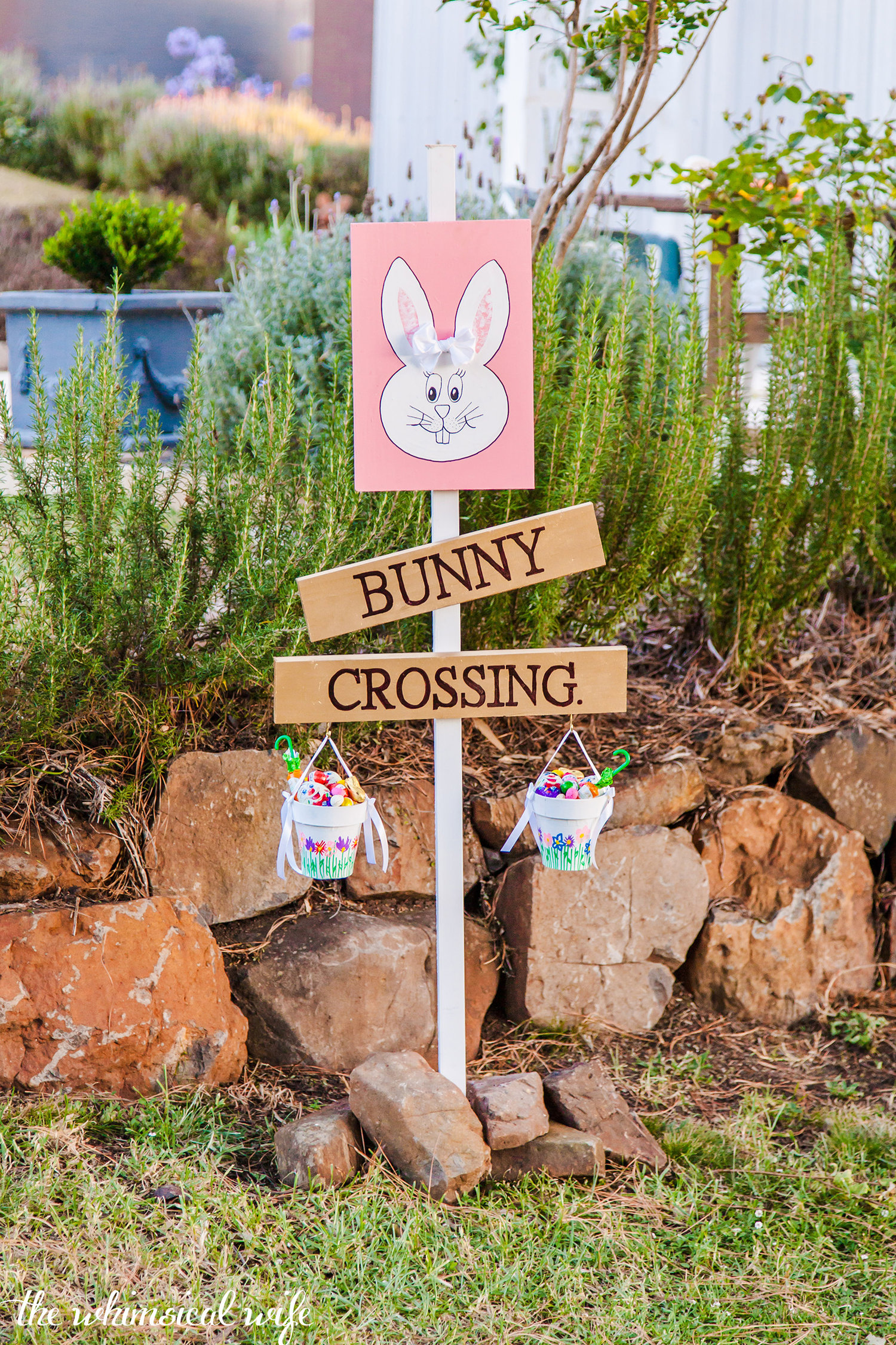 Diy Easter Bunny Crossing Sign The Whimsical Wife Cook Create Decorate