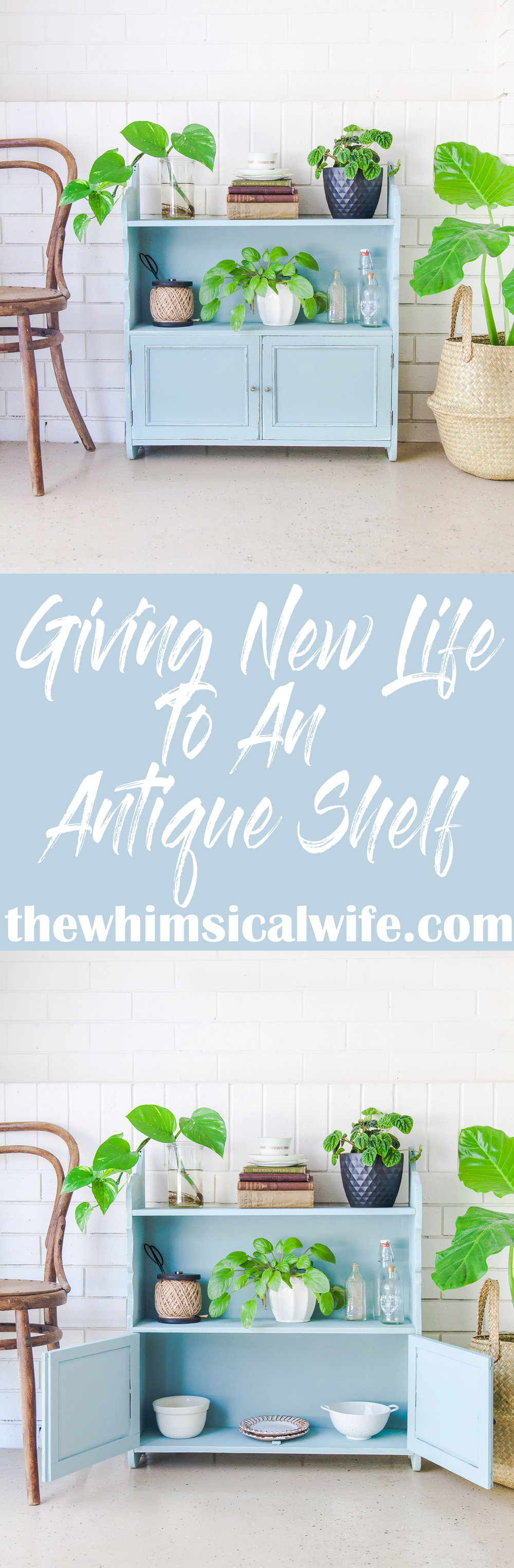 Giving New Life To A Antique Shelf | The Whimsical Wife