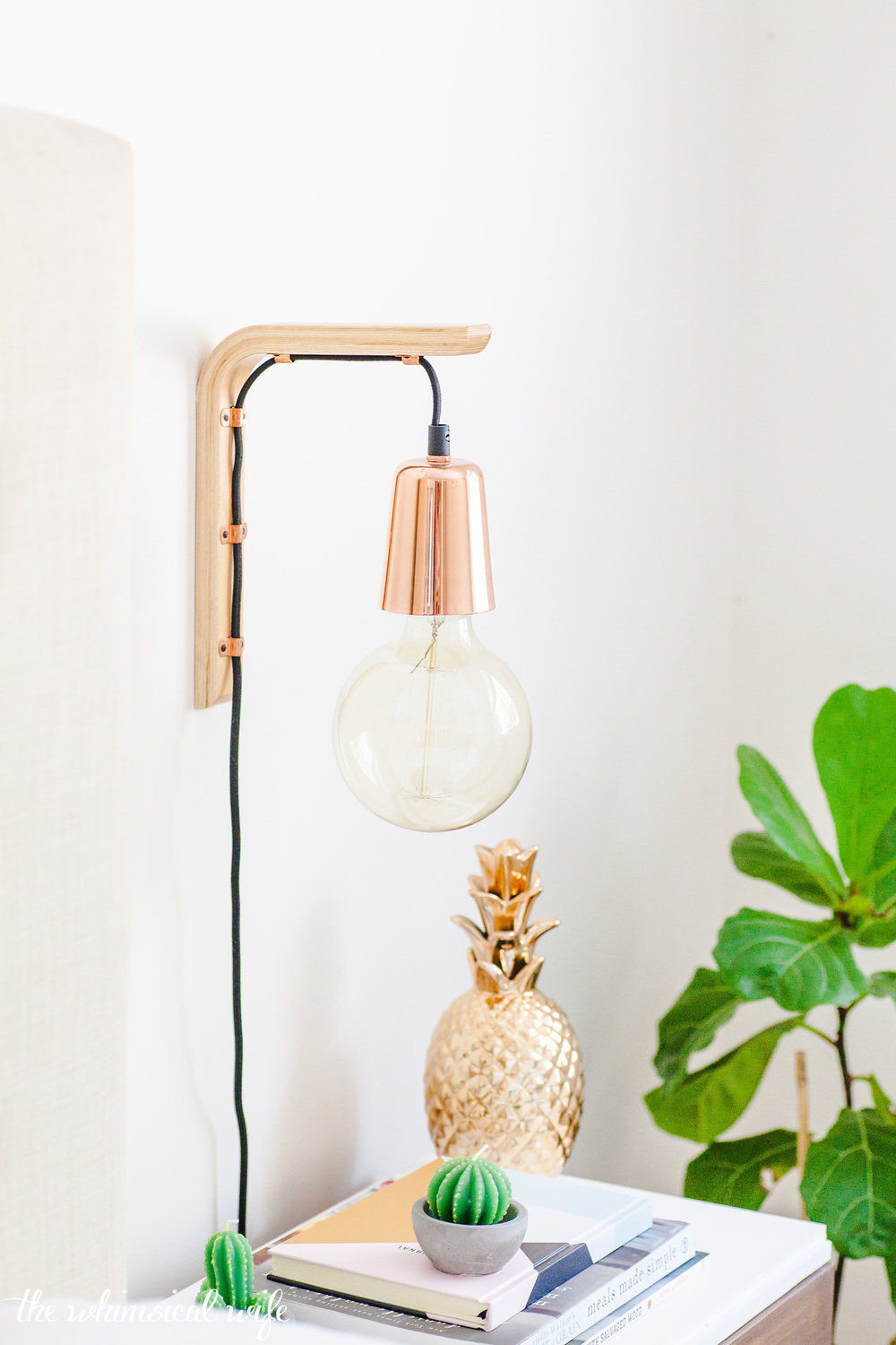 How To Make A Modern Hanging Wooden Wall Bracket Light | The Whimsical Wife
