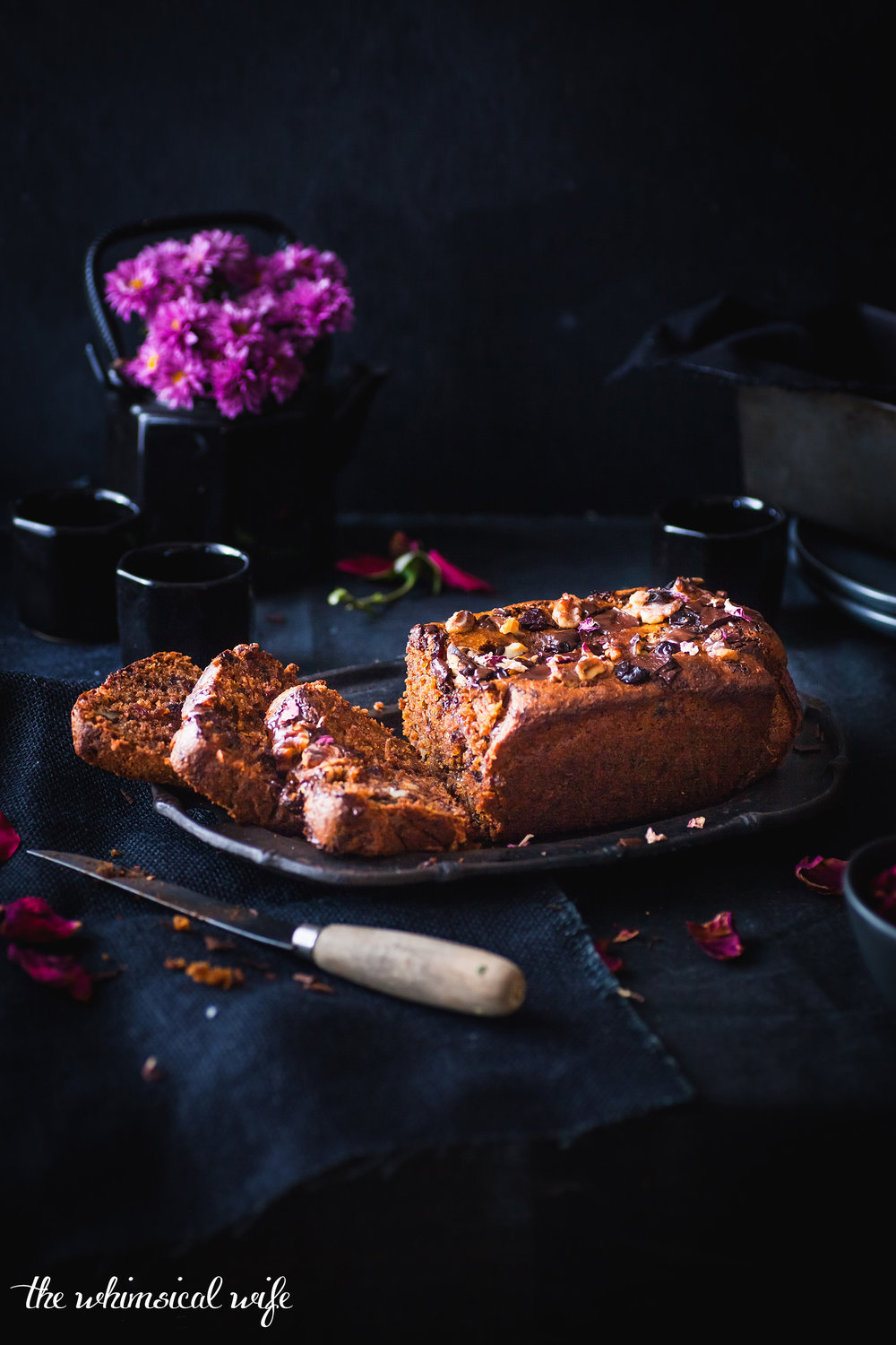 30 Cakes In 30 Days | 4. Dark Chocolate, Cranberry & Walnut Spiced Pumpkin Bread {GF, DF, Vegan} | The Whimsical Wife