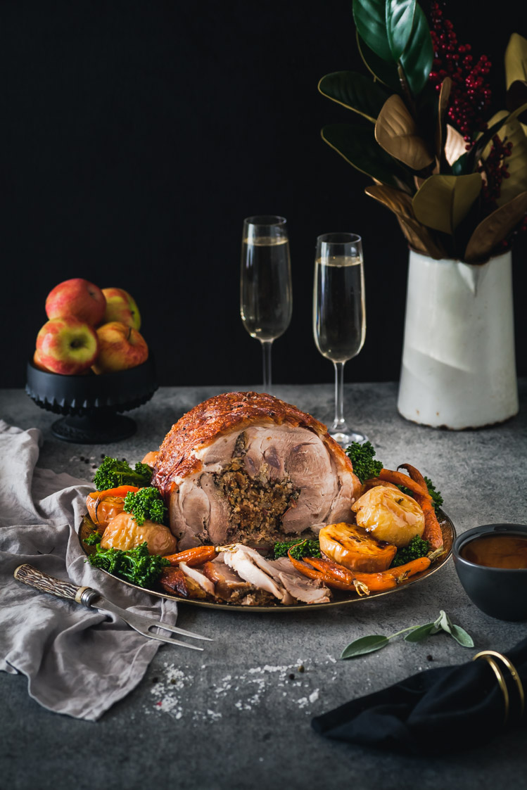 Murray Valley Roast Pork With Quinoa & Fig Stuffing & Caramelized Roast Apples & Cider Jus {DF & GF} - The Whimsical Wife