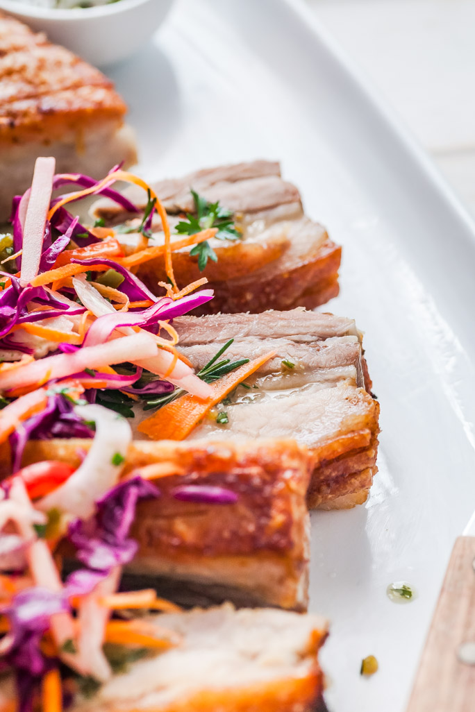 Herb, Honey Mustard Murray Valley Pork Belly With Jalapeno Fennel & Apple Slaw - The Whimsical Wife