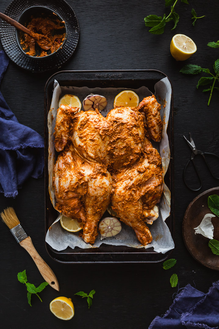 Butterflied Indian Spiced Inglewood Chicken with Garam Masala Potatoes & Minted Curry Peas | The Whimsical Wife