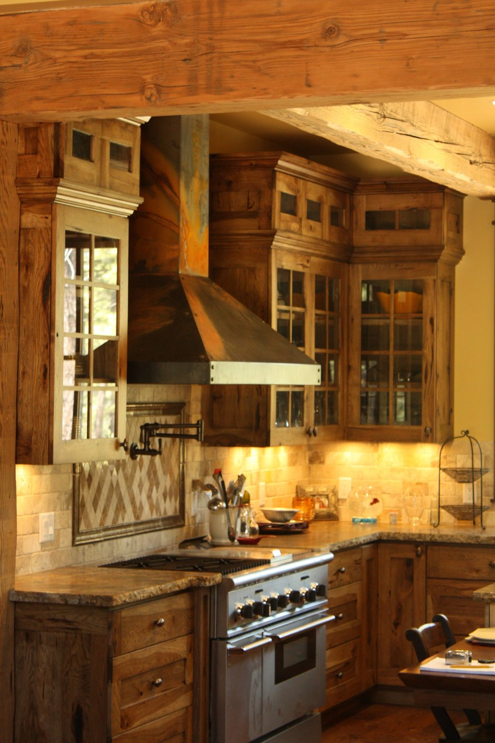 Rustic hickory kitchen cabinets we built in 2010.