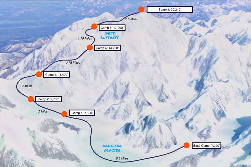 Map of Denali camps and elevation
