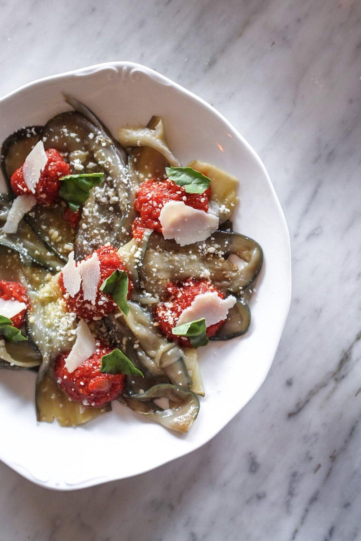 Valbruna's Eggplant, Tomato Sugo, Parmigiano Reggiano, and Fresh Basil
