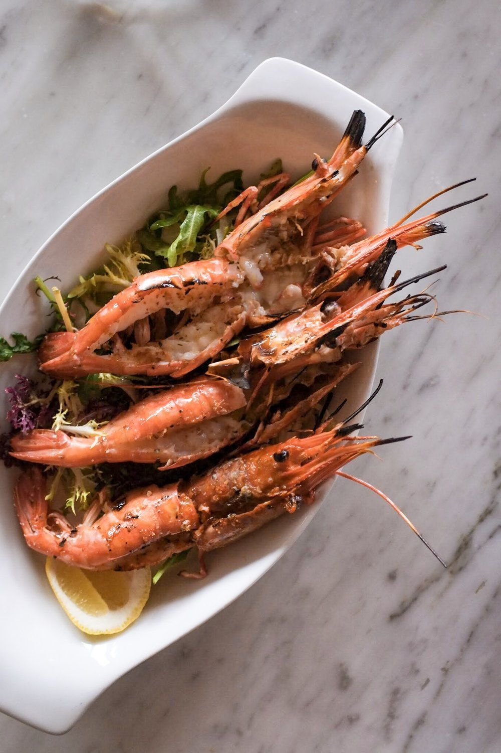 Grilled Santa Barbara Spot Prawns with Breadcrumbs, Greens, and Romagnola Olive Oil