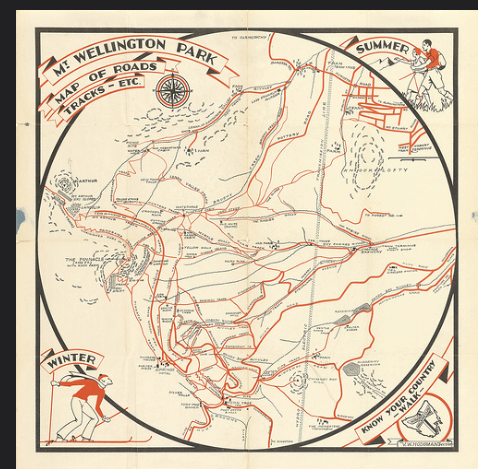 ( Click on the image to enlarge)     The MWCC's map of the mountain shows only the Pinnacle Road and its six barrier gates, but the mountain can also be accessed by a network of tracks that are never closed. The mountain has never been blocked to the adventurous.