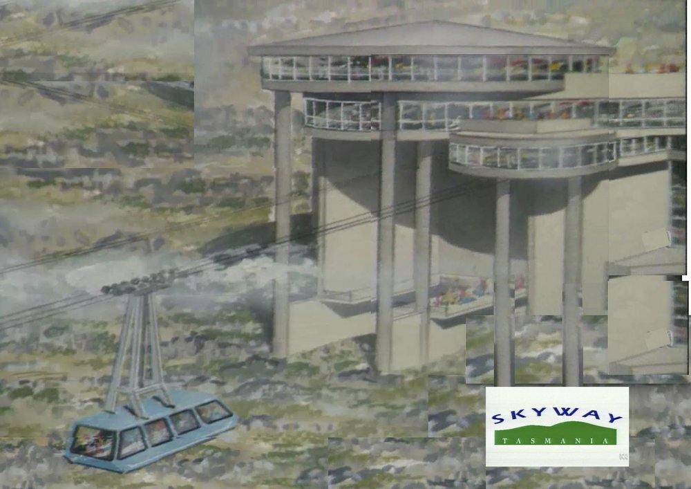 "Grandiosely, Burbury's summit station was a triple-decker flying saucer on concrete stilts eight storeys high. It contained a conference centre, a hotel and a restaurant.   Composite image constructed from the official ""Skyway"" promo video, 1994"
