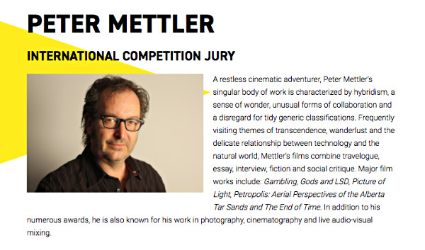 Peter Mettler will participate as a jury member of  DocumentaMadrid  in Spain, May 4 - 14th, 2017