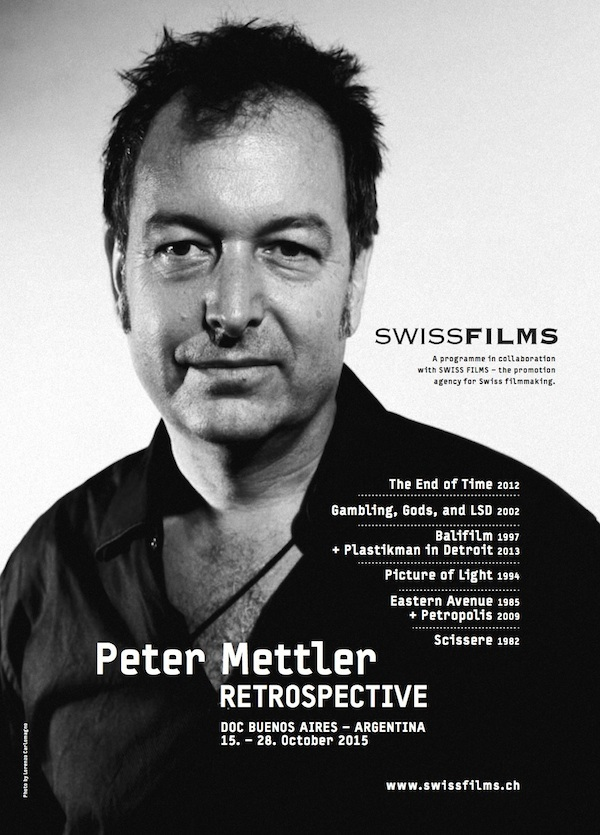 "Retrospective at  DOC BUENOS AIRES , ""Peter Mettler: Journeys through the Light"", October 15-28th, 2015. With a Master Class ""Peter Mettler: Cinema as Search and Discover,"" October 19th, 2015, 7pm at  Universidad del Cine . Information on Mettler's Master Class in  English  and  Spanish ."