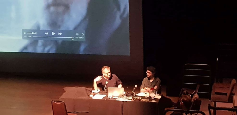 Peter Mettler participating in a master class at Doc Montevideo. Photograph by Maria Maia.