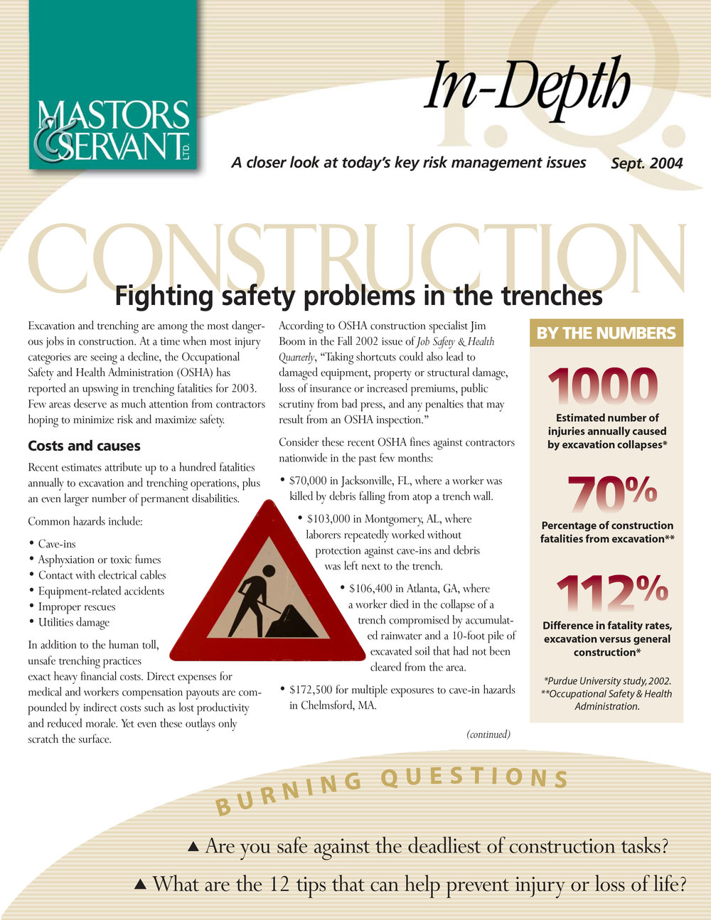 Insurance Newsletter to Contractors