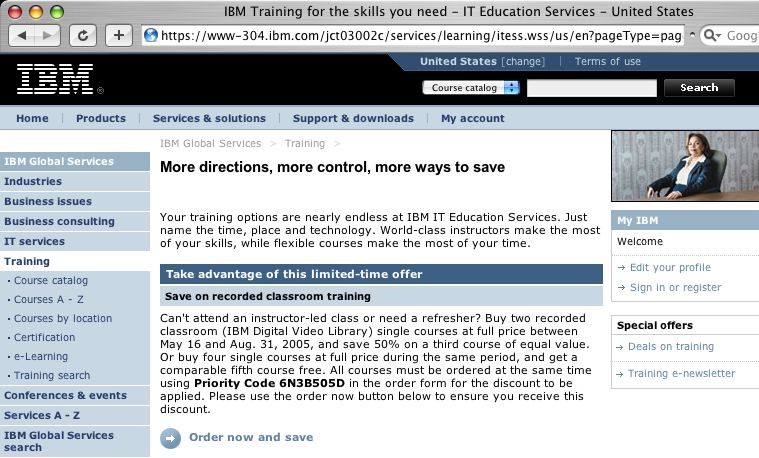 Web Page for IBM IT Education Services
