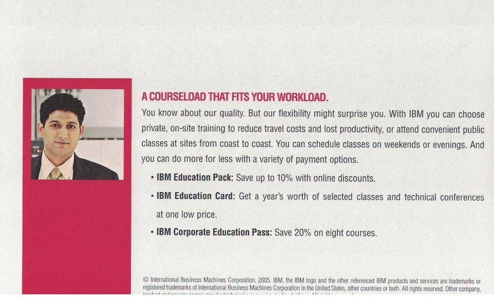 Mailer for IBM IT Education Services - Detail Panel