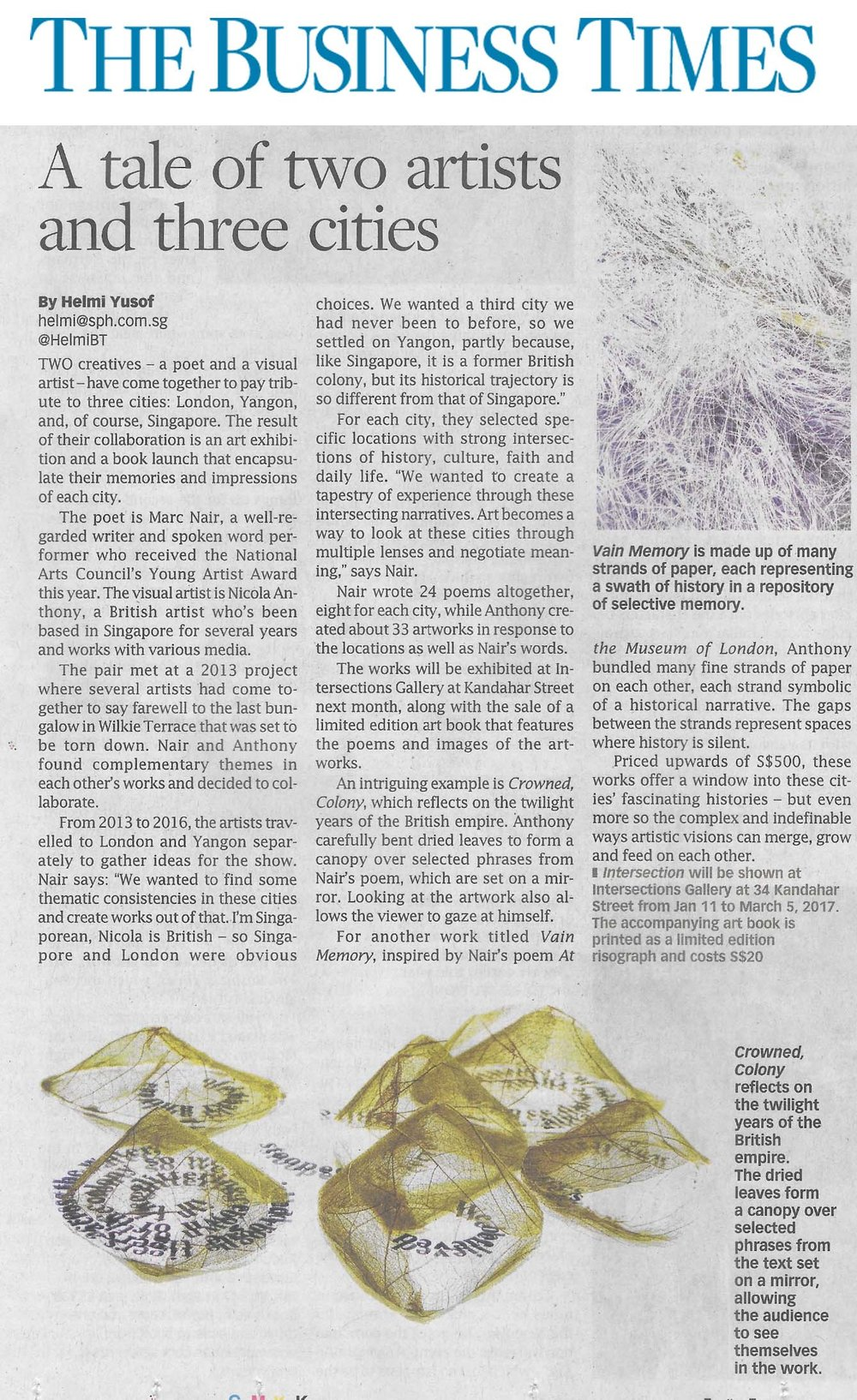 Singapore Business Times, Article by Helmi Yusof, 30 December 2016