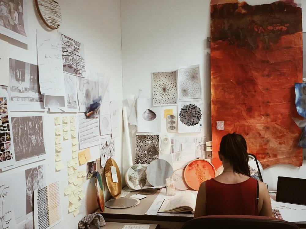 Nicola at work in her Kallang artist's studio,NPE Residency Programme 2016.
