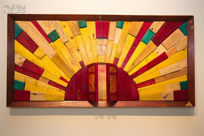 """Window to My Heart"" uses pieces of discarded wood to share the artist's preserving optimism with the viewer. PHOTO: Jaiesh Sachi"