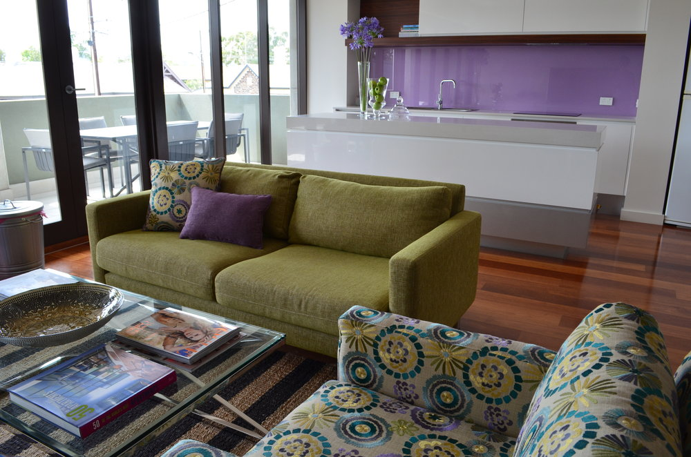Carrie Deverson Interiors Townhouse Custom sofa and Chair