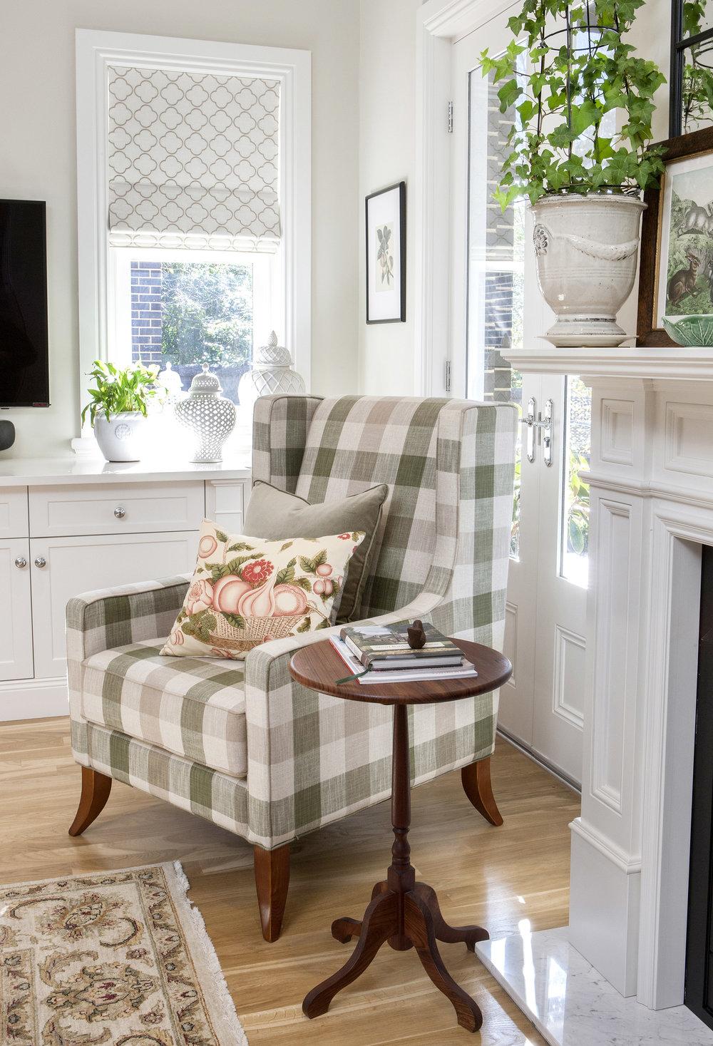 Carrie Deverson Interiors Hawthorn Villa Living Room Wing Chair Roman Blind Cushions Adelaide Interior Design