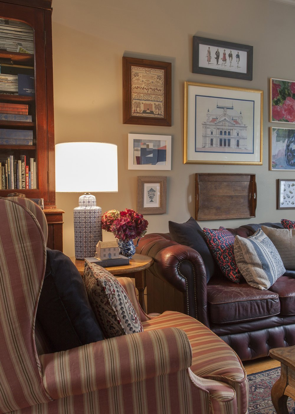 Carrie Deverson Interiors Cottage Living Room Cushions Chesterfield Blue and White Lamp Gallery Wall
