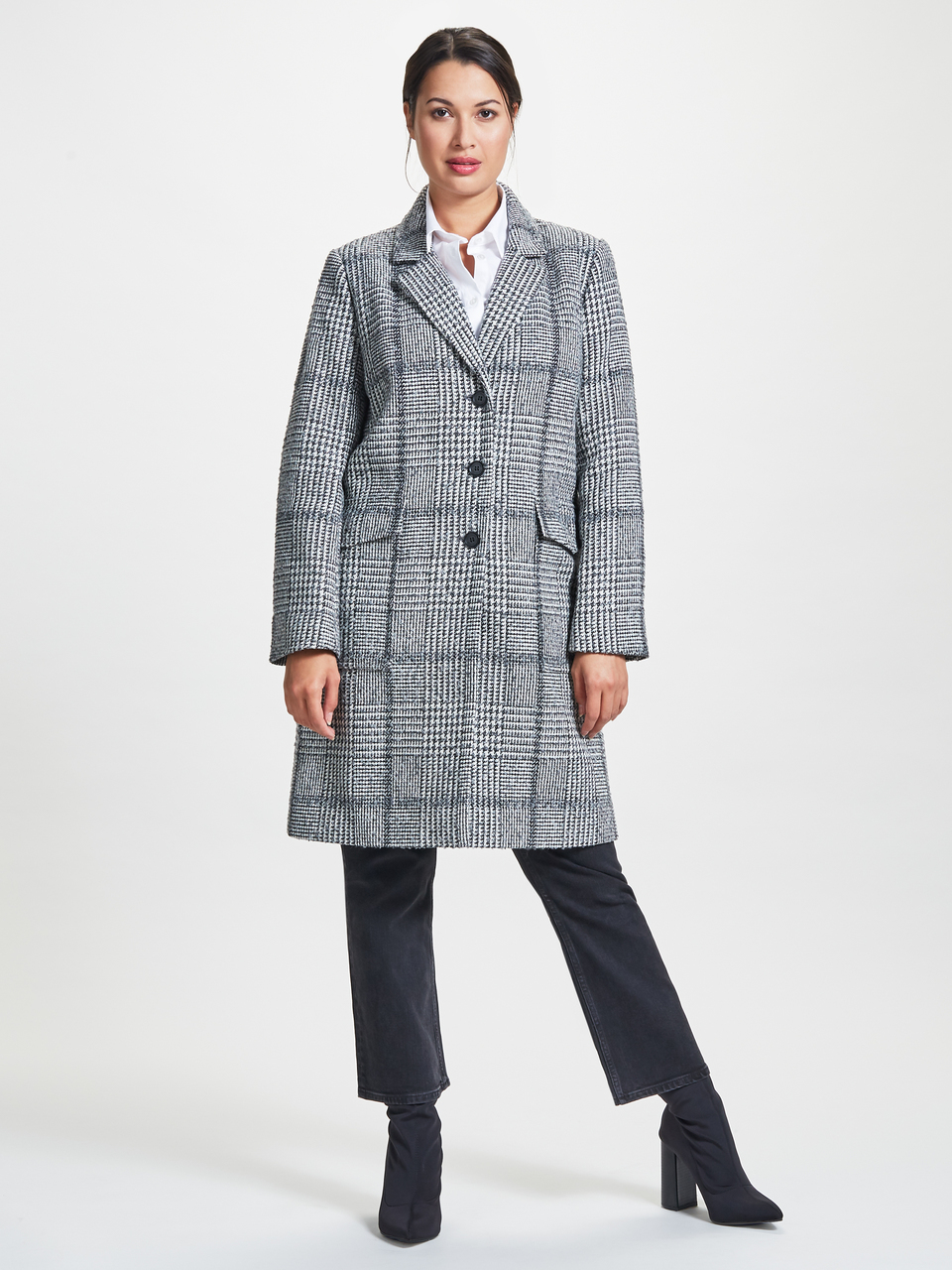 ^ Check patch pocket coat. In grey check.